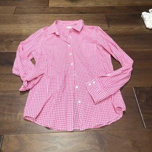 Jcrew pink gingham button down size M - EUC